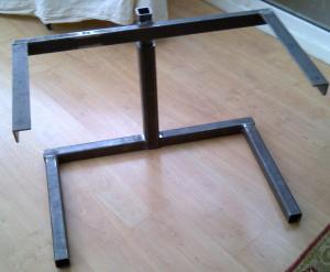 Desk frames during construction